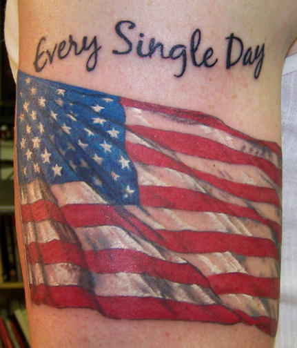 american flag with quotes tattoo on half sleeve tattoomagz. Black Bedroom Furniture Sets. Home Design Ideas