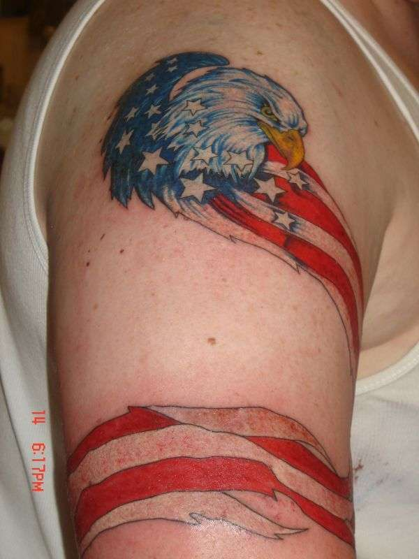 eagle with american flag wrapped around on upper arm. Black Bedroom Furniture Sets. Home Design Ideas