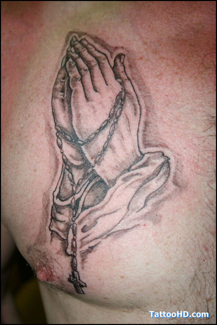 praying hands tattoo with dog tags praying hands tattoomagz. Black Bedroom Furniture Sets. Home Design Ideas